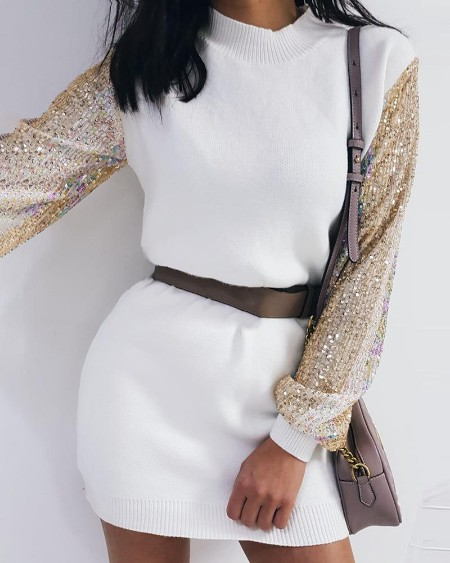 Lantern Sleeve Sequins Long Sleeve Sweater Dress