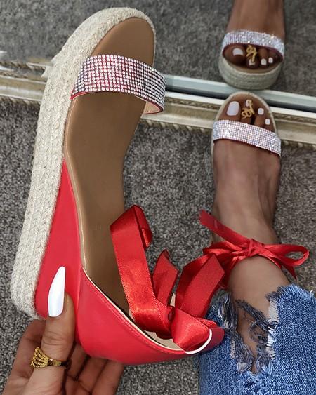 Round-toe Splicing Glitter Strap Wedge Sandals