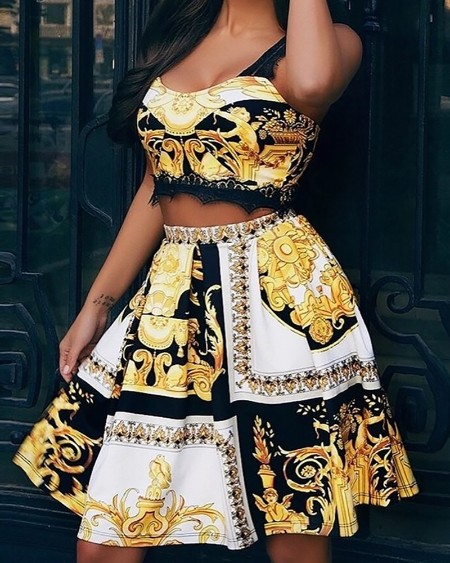 Eyelash Lace Insert Print Top & Skirt Set