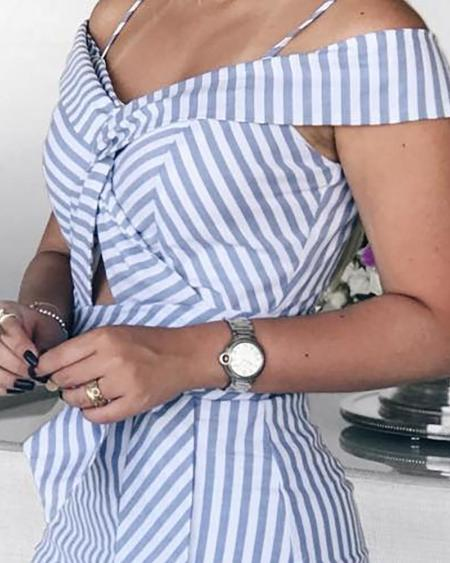 boutiquefeel / Cold Shoulder Striped Pep Hem Dress