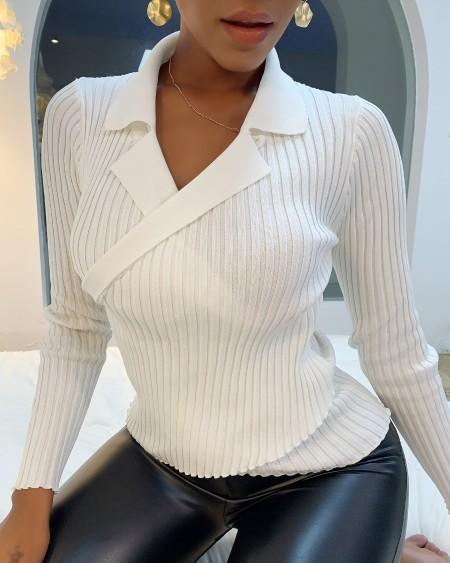 Plain Long Sleeve Wrap Sweater