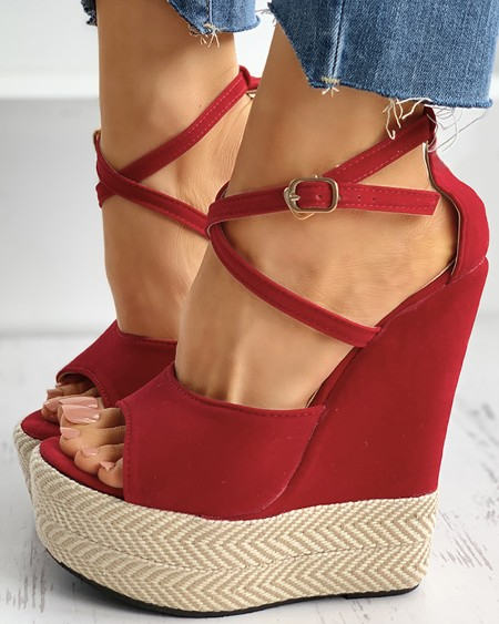Peep Toe Platform Wedge Sandals