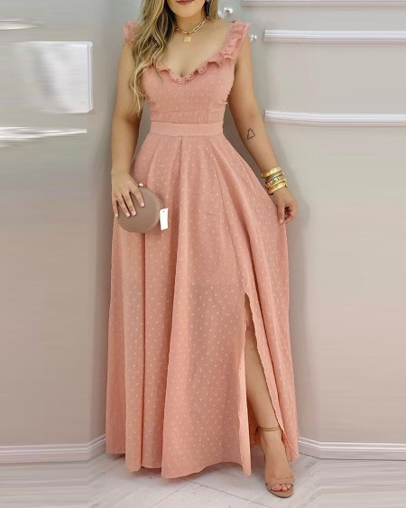 Ruffle Hem Open Back Slit Maxi Dress
