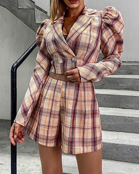 Plaid Puffed Sleeve Blazer Coat & Shorts Set