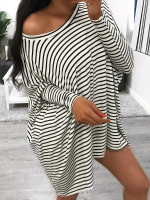 Striped Batwing Sleeve Casual T-shirt Dress