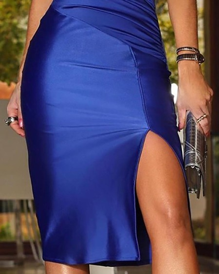 Solid Spaghetti Strap Ruched Slit Dress