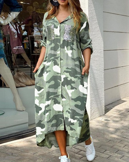 Camouflage Print Sequins Pocket Design Maxi Dress