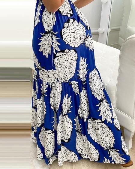 Pineapple Print Halter Ruffle Hem Maxi Dress