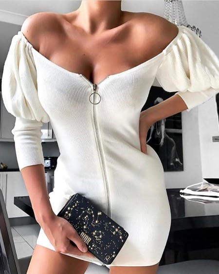 Solid Puff Sleeve Zipped Dress