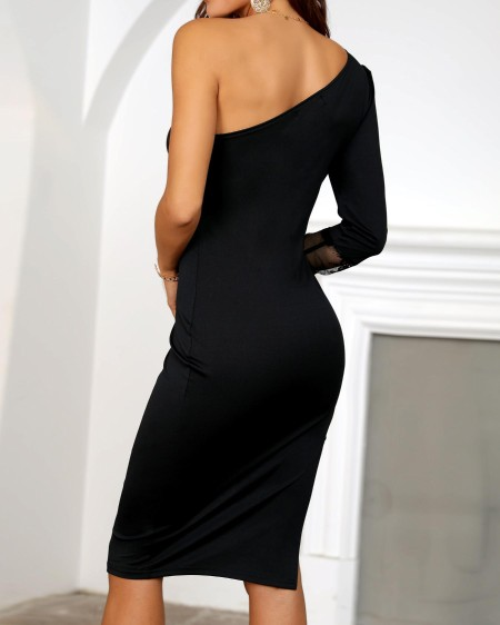 One Shoulder Lace Insert Slit Bodycon Dress