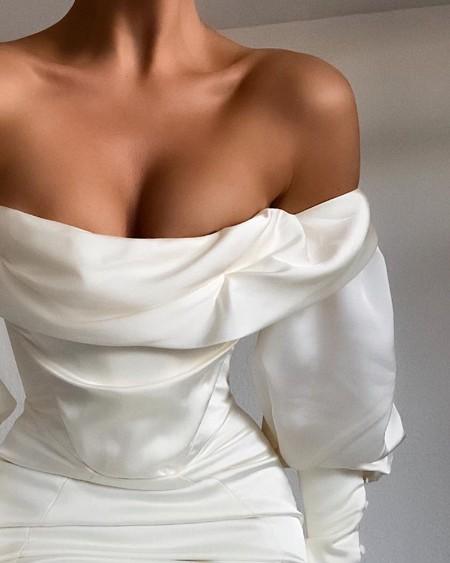 Off Shoulder Ruched Button Decor Party Dress
