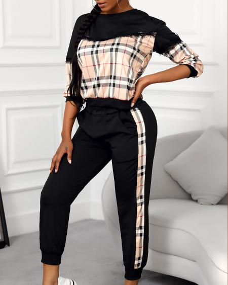 Plaid Fringe Hem Long Sleeve Top & Pocket Pants Set