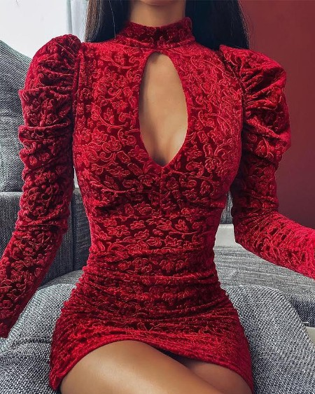 Mock Neck Embroidery Keyhole Mini Dress