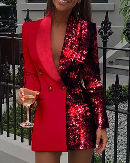 Colorblock Sequins Long Sleeve Blazer Dress