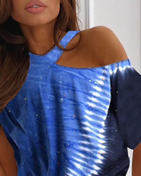 Tie Dye Print One Shoulder T-shirt
