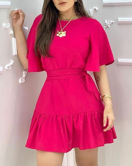 Ruffles Ruched Half Sleeve Casual Dress