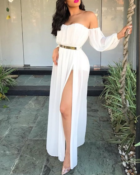 Off Shoulder Thigh Slit Maxi Dress
