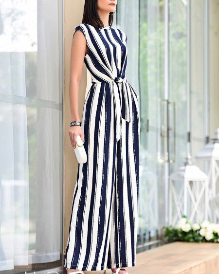 Sleeveless Striped Knotted Front Jumpsuit