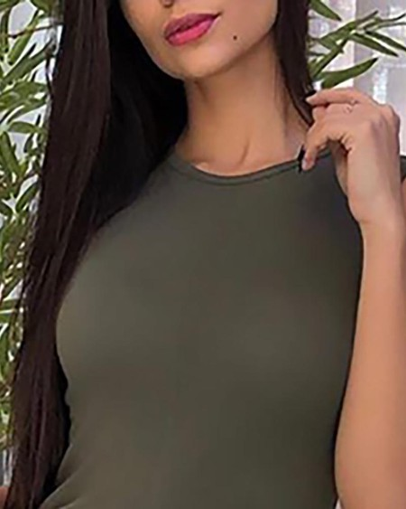 Sleeveless Thigh Slit Casual Blouse