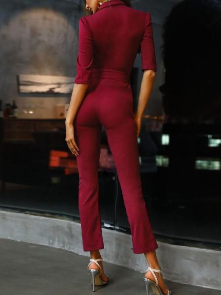 Zip & Button Detail Belted Jumpsuit