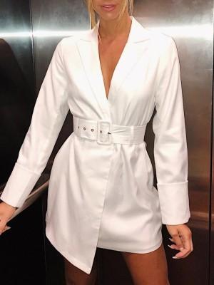 Solid Deep V Wrap Belted Blazer Dress