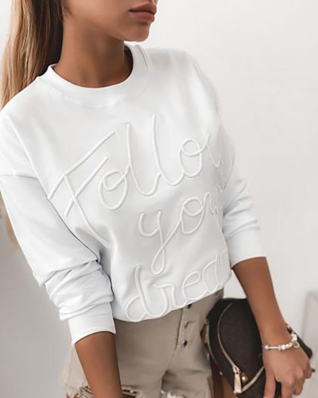 Letter Pattern Long Sleeve Casual Top