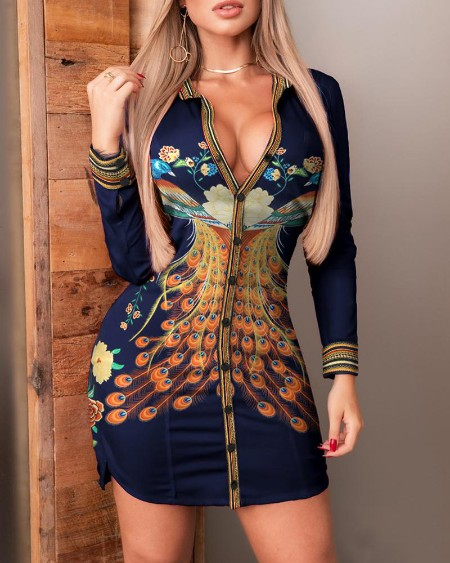 Phoenix Print Button Design Sides Slit Shirt Dress