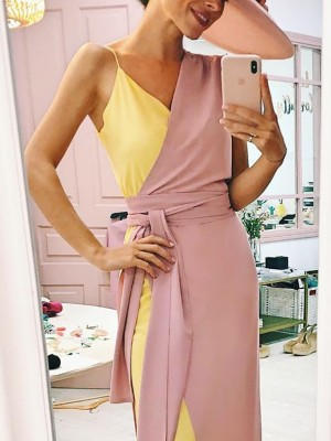 Contrast Color Splicing Belted Casual Wrap Dress