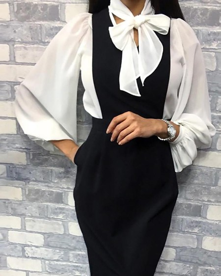 Lantern Sleeve Tied Neck Chiffon Shirt