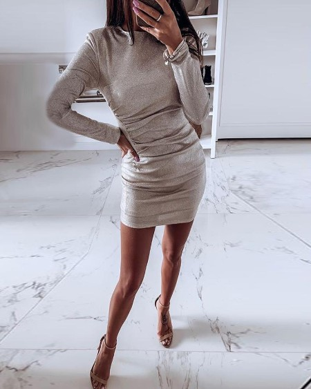 Solid Long Sleeve Ruched Bodycon Dress