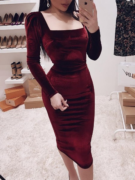 Square Neck Puff Sleeve Bodycon Dress