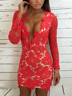 Sexy Deep V Crochet Lace Bodycon Dress