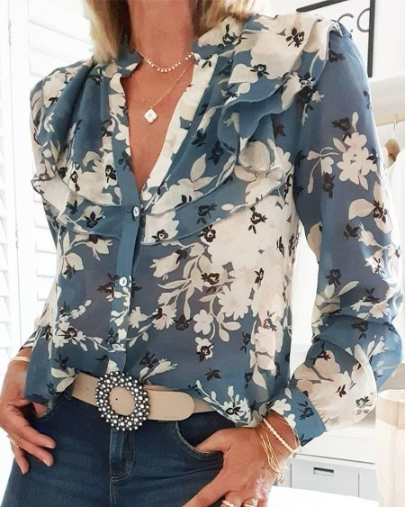 Floral Print Layered Ruffle Blouse