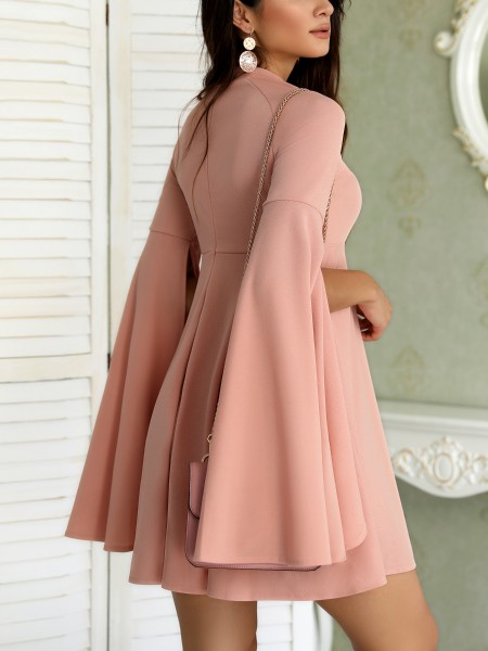 Solid Split Flared Sleeve Casual Dress