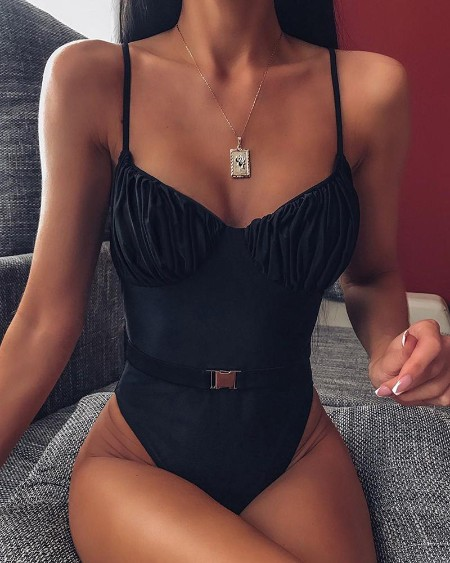 boutiquefeel / Solid Spaghetti Strap One Piece Swimsuit