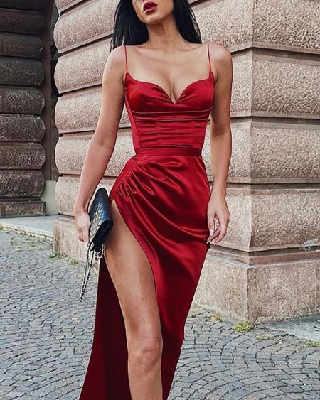 boutiquefeel / Sweetheart Neck Sleeveless High Slit Maxi Dress