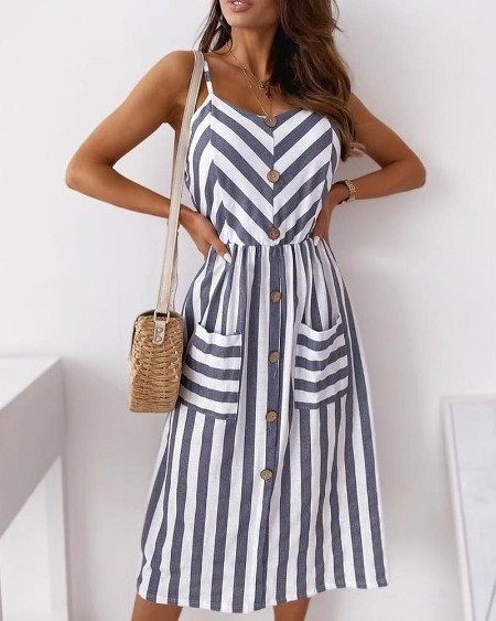 Striped Colorblock Buttoned Pocket Design Casual Dress