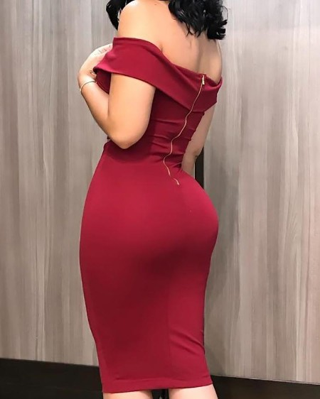 Off Shoulder Cut Out Midi Dress