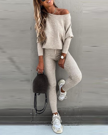 Solid Long Sleeve Top & High Waist Drawstring Pants Set