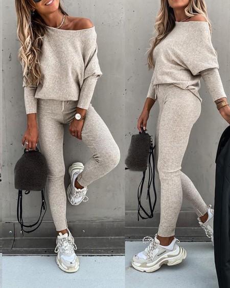 Solid Long Sleeve Top & High Waist Drawstring Pants Set