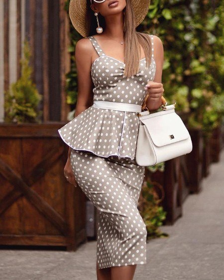 boutiquefeel / Thin Strap Dot Peplum Bodycon Dress