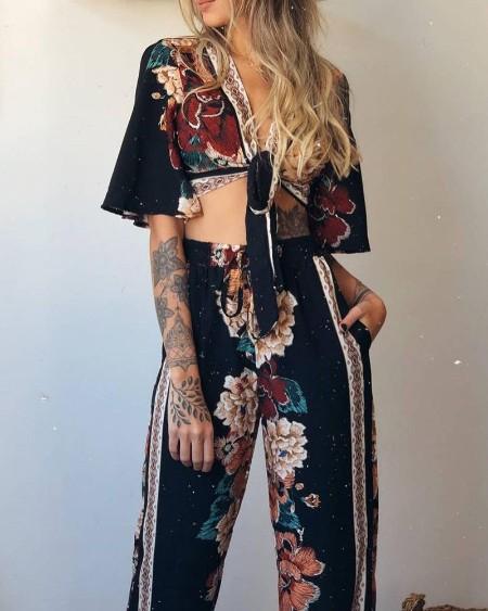 Floral Print Tie Front Crop Top & Pants Set