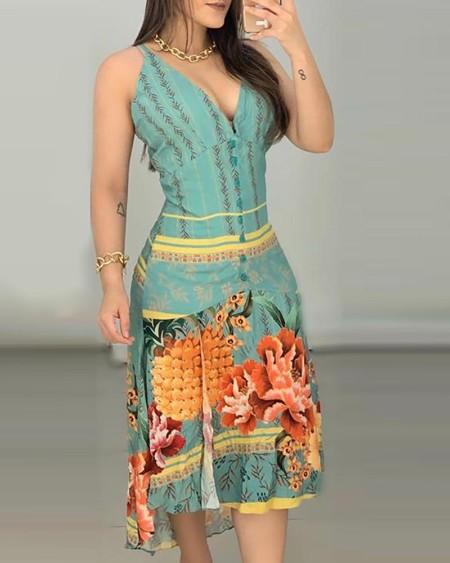 Floral Pineapple Print Dip Hem  Dress