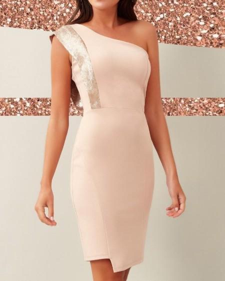 One Shoulder Glitter Insert Bodycon Dress
