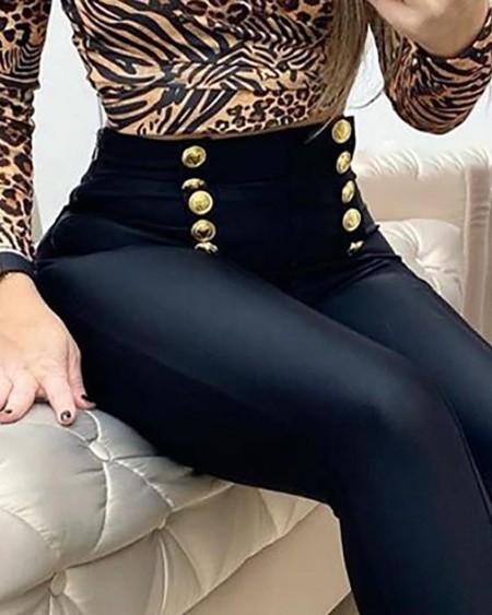 Buttoned High Waist Skinny Pants