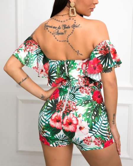 Off Shoulder Tropical Print Romper