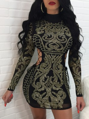 Studded Hollow Lace-up Bodycon Mini Dress