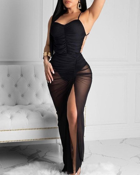 boutiquefeel / Spaghetti Strap Ruched Slit Backless Party Dress