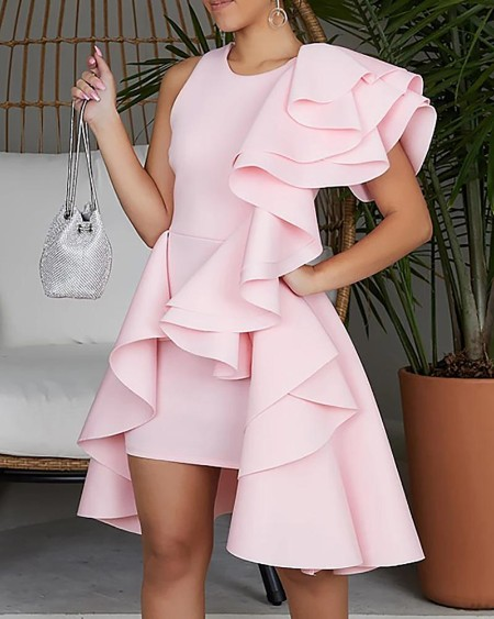 Solid Irregular Layered Ruffles Party Dress