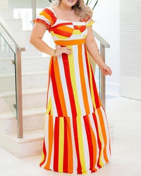 Plus Size Striped Colorblock Short Sleeve Maxi Dress